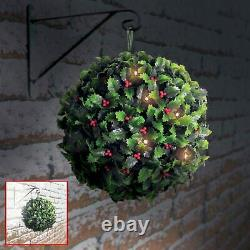Outdoor Garden Decoration 28cm Solar Power LED Light Holly Topiary Hanging Ball