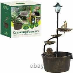 Outdoor Garden Fountain Water Feature with Solar Powered LED Light New
