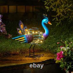 Outdoor Solar Peacock Spiralite Garden Ornament Decor Statue Bird Large Blue