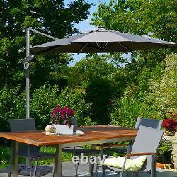 Outsunny 3m Solar LED Cantilever Parasol Adjustable Garden Umbrella with Base