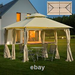 Outsunny 4 x 3(m) Outdoor Gazebo Canopy Garden Pavilion with LED Solar Light Khaki