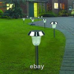Pack 10X Solar Stainless Steel Lawn Light Pathway Garden Lamp Cold White