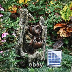 Patio Solar Waterfall Water Feature LED Light Outdoor Garden Fountain Statue Dec