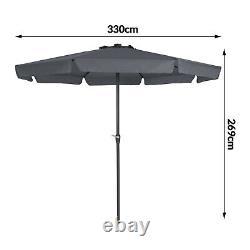 Patio Sun Parasol 330cm Anthracite Grey Garden Umbrella 3.3m 32 LED Lights Solar