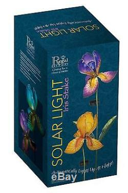 RRP£132- 4 x IRIS Flower Solar Light Garden Stake Creekwood Regal Art Gift Boxed