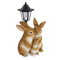 Rabbit Family Lantern Solar Powered LED Light Decorative Garden Bunny Ornament