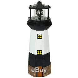 Rotating Led Solar Powered Bulb Large Garden Lighthouse Ornament Patio Light