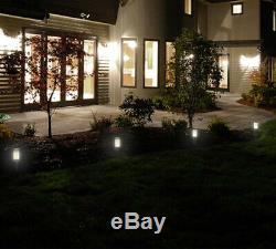 Set 8/16 Solar Powered Led Bollard Post Lights Stainless Steel Garden Path Light