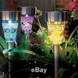 Set Of 12 Solar Power Stainless Steel Mosaic White Led Garden Light Outdoor