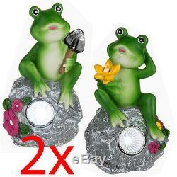 Set Of 2 Frog Solar Light White Led Garden Patio Decor Ornament Patio Outdoor