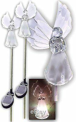 Set of 2 Solar Power Angel Fiber Optic Wings Garden Stake Color Change LED Light