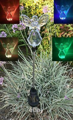 Set of 2 Solar Powered Angel with Star Yard Garden Stake Color Changing LED Light