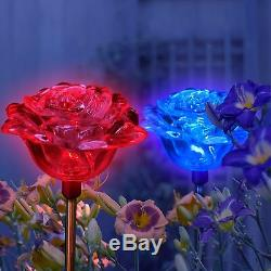 Set of 2 Solar Powered Rose Flower Yard Garden Stake Color Changing LED Light