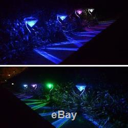 Set of 4 LED Color Changing Outdoor Solar Diamond Stake Garden Walkway Lights