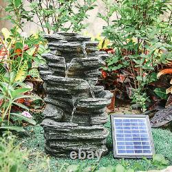 Slat Falls Woodland Solar Water Feature LED Fountain Stone Statue Outdoor Garden