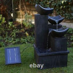 Slate Solar Cascading Water Feature with Battery Back Up and LED Lights