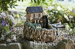 Smart Solar Powered Water Mill Fountain With LED Light Garden Outdoor Feature