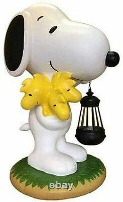 Snoopy Peanuts Led Solar Light Garden Yard Object Ornament Statue Woodstock