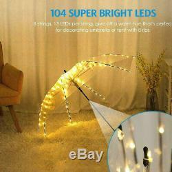 Solar/Battey Powered Umbrella Lights 104 LED Patio Parasol Outdoor Garden Light