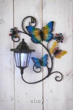 Solar Butterfly LED Light Garden Wall Patio Deck Fence Ornament Lamp Plaque Deco