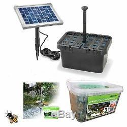 Solar Filter Pond Pump Fountain Garden Pond Battery Backup Eco Media stones LEDS