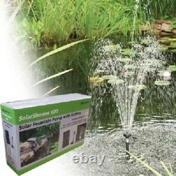 Solar Fountain Pump 158GPH withbattery back-up and LED lights, Water garden Ponds