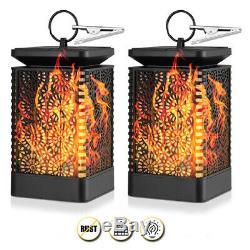 Solar LED Lantern Light Flickering Flame Effect Waterproof Garden Hanging Lamp