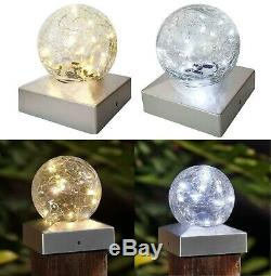 Solar Led Deck Cap Crackle Glass Ball Light Garden Outdoor Post Fence Lights New