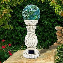 Solar Mosaic Ball On Column Outdoor Garden Light Decoration Ornament Ball Light