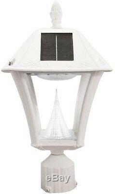 Solar Post Mount Wall Light Pole Lamp White Lantern Outdoor Garden Drive Pathway