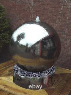 Solar Powe 56cm Polished Steel Sphere And Base Water Feature with LED Light