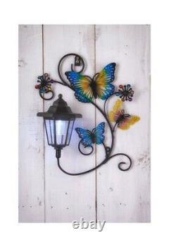 Solar Power Butterfly with LED Lantern Decorative Garden Light Wall Art Plaque