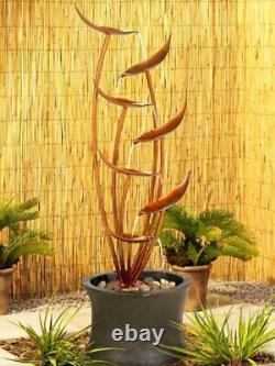 Solar Power Copper Water Feature for Gardens and Patios, LED, Battery & Charger