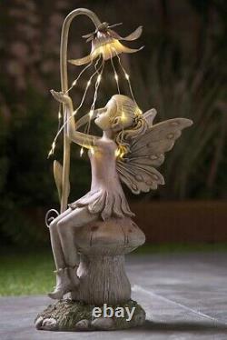 Solar Power Fairy on a Mushroom with String Light Decorative Garden Ornament