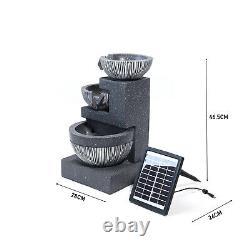 Solar Power Garden 3 Tier Bowls Cascade Fountain Water Feature Statues LED Light