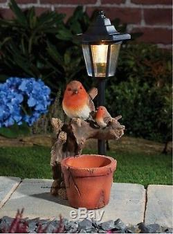 Solar Power Robin & Lamp Post LED Decorative Garden Bird Light Ornament/Planter