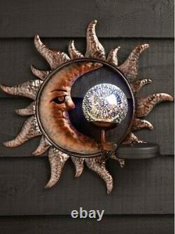 Solar Power Sun & Moon LED Decorative Garden Light Wall Art Plaque Ornament