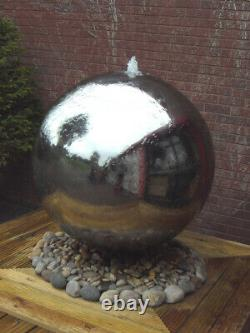 Solar Powered 75cm Diameter Polished Steel Sphere Water Feature With LED Lights