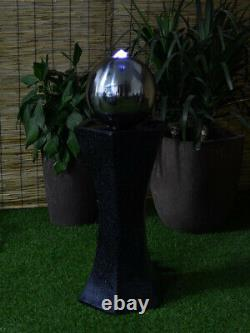 Solar Powered Black Pedestal With Sphere Water Feature, Led light and charger