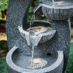 Solar Powered Garden Patio Water Feature Water Bowls Flowing Fountain w Pump LED