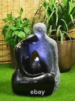 Solar Powered Granite Couple Water feature with Battery Back up LED & charger