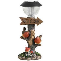 Solar Powered LED Robin Welcome Light Decorative Garden Bird Woodland Scene Orna
