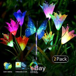 Solar Powered Lily/Cherry/Dandelion Flowers Lights Yard Garden Outdoor Lamp Deco