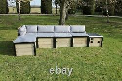 Solar Powered Modular Garden Sofa with built in speakers, USB ports & LED lights
