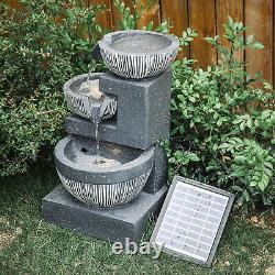 Solar Powered Outdoor Rockery Waterfall LED Fountain Garden Stone Water Feature