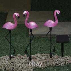 Solar Powered Pink Flamingo Ornament Set of 3 Garden 53cm Outdoor Light Decor