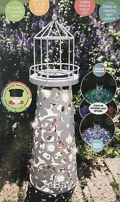 Solar Powered Rotating Lighthouse Table Light Led Garden Ornament Enamel Colour