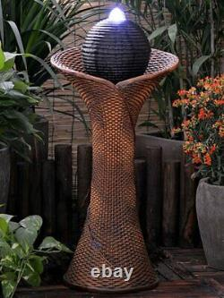 Solar Rattan Pillar and Ball Water Feature with LED light