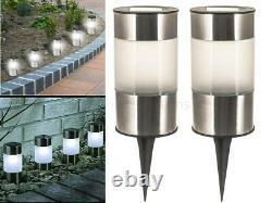 Solar Short Cylinder Light Stainless Steel Outdoor Garden Path Driveway Lights