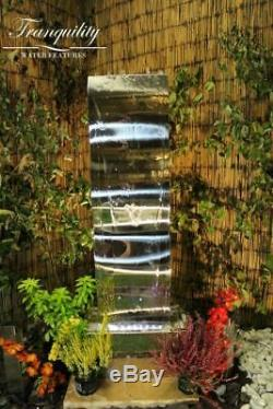 Solar Small Stainless Steel Wave Modern Water Feature, garden feature with leds
